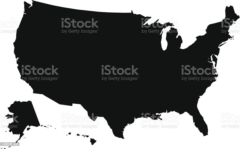 Usa Map Outline Or Silhouette Stock Vector