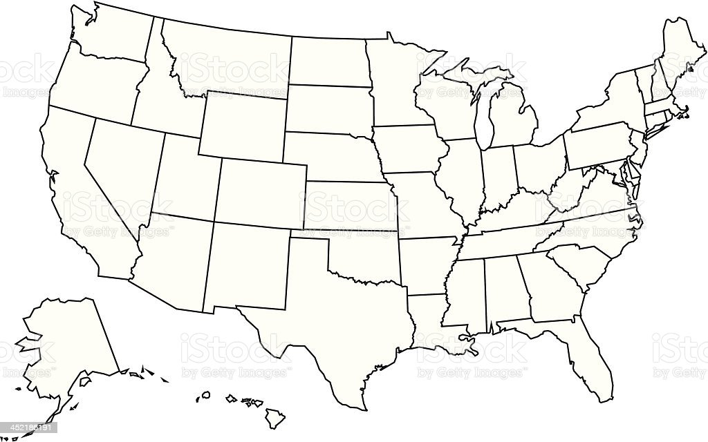 Usa Map Outline Stock Vector Art & More Images of Black And White ...