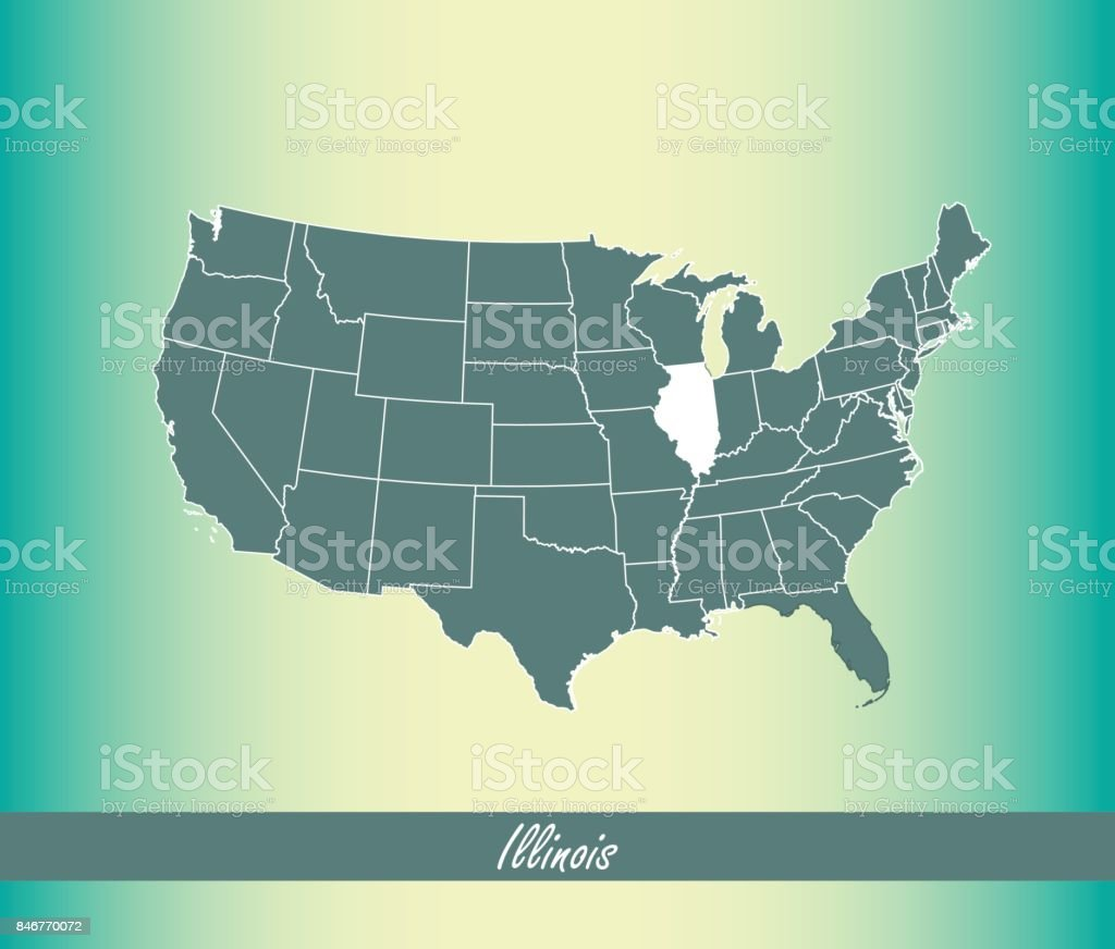 Us Map Outline Vector With Highlighted States Of Illinois In Blue ...