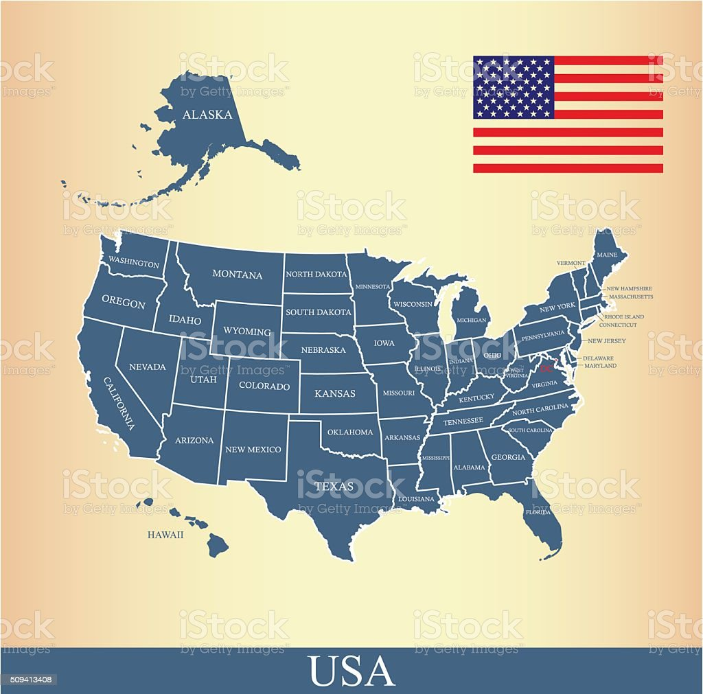 USA map outline vector with US flag and states names vector art illustration