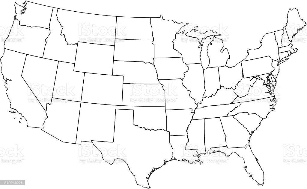 USA map outline white background vector art illustration