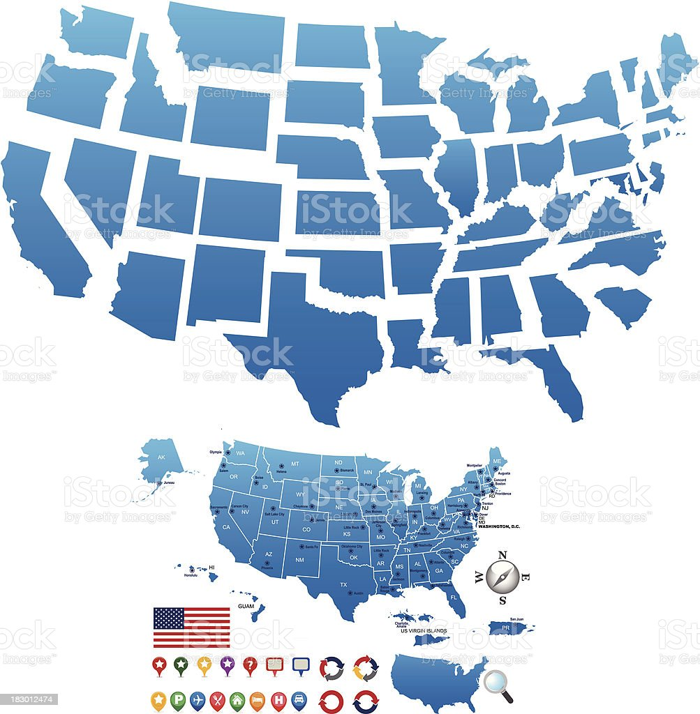 Usa Map Outline With State Capitals And Its Territories Stock - Map Of Us State Capitals