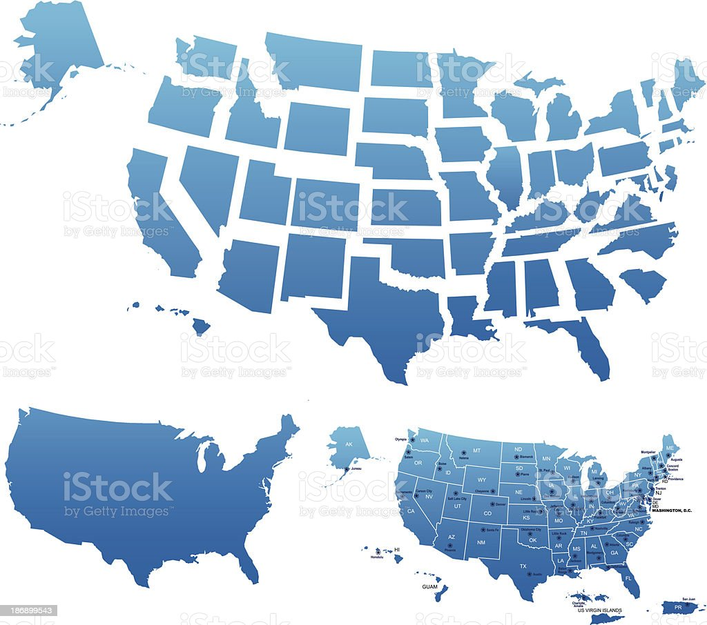 Usa Map Outline With State Capitals And Its Territories Stock - Hawaii islands map usa