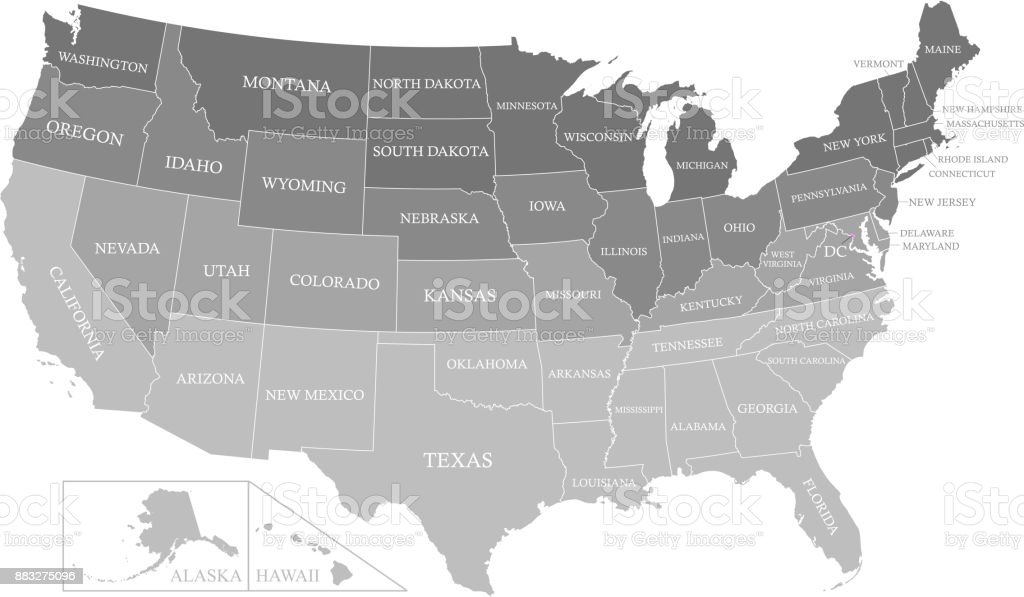 Usa Map Outline With States Labeled Vector Gray Background Printable ...