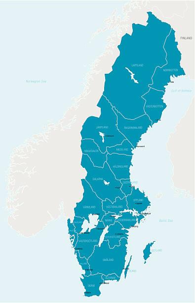 bildbanksillustrationer, clip art samt tecknat material och ikoner med map outlining only sweden in blue - sweden map