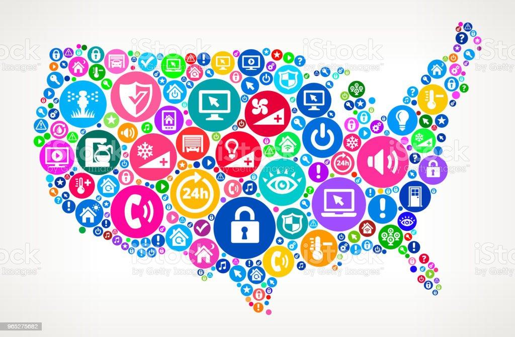 US Map People Home Automation Technology Icon Background us map people home automation technology icon background - stockowe grafiki wektorowe i więcej obrazów aparat fotograficzny royalty-free