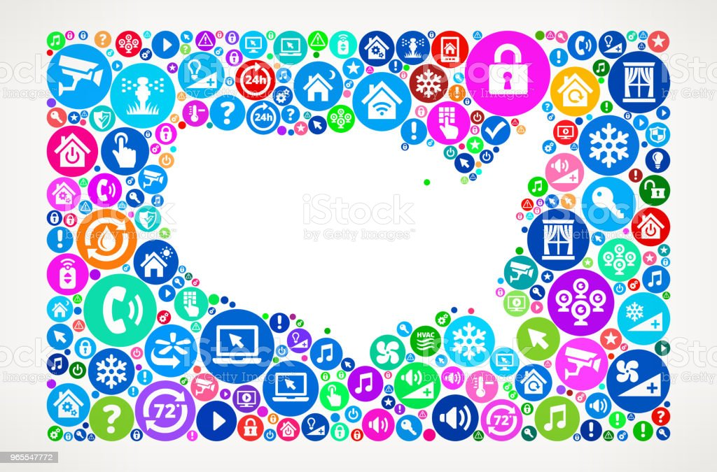 Us Map People Home Automation Technology Icon Background ...