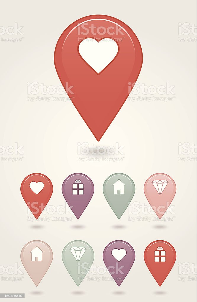 Map pin button royalty-free stock vector art