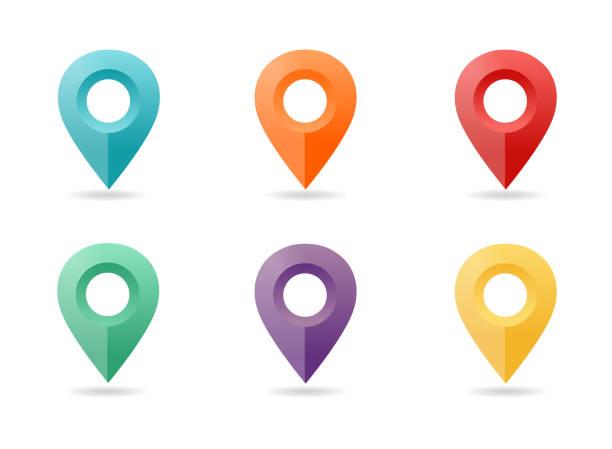 bildbanksillustrationer, clip art samt tecknat material och ikoner med karta pin platt designstil. ikonuppsättning - berömd plats