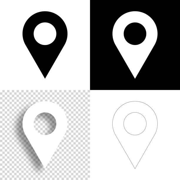 Map pin. Icon for design. Blank, white and black backgrounds - Line icon vector art illustration