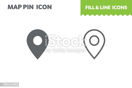Map pin  icon, vector. Fill and line. Flat design. Ui icon