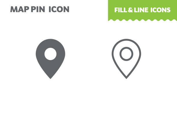 Map pin  icon, vector. Map pin  icon, vector. Fill and line. Flat design. Ui icon navigational equipment stock illustrations