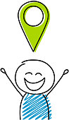 Map pin icon with happy stickman. Vector.