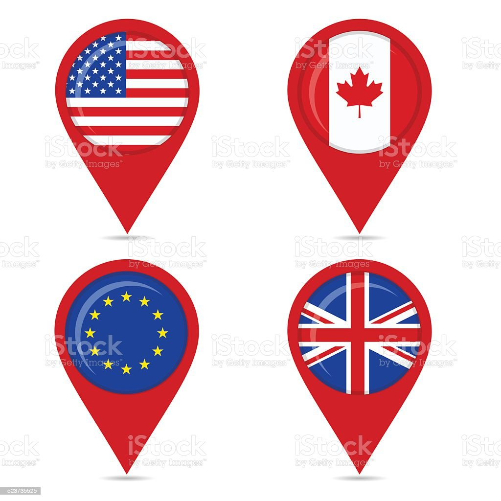 Map pin icons of Anglo Saxon countries and europe vector art illustration