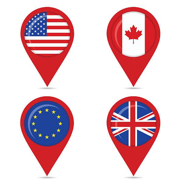 karte pin-icons von anglo sächsischen staaten und europa - flagge kanada stock-grafiken, -clipart, -cartoons und -symbole