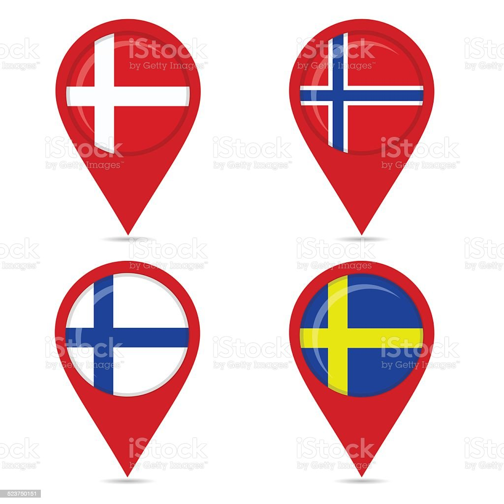 Map Pin Icons Of National Flags Of Scandinavian Countries Stock ...