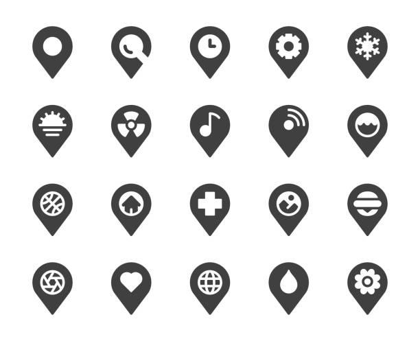 karte pin pointer - symbole - heftzwecke stock-grafiken, -clipart, -cartoons und -symbole