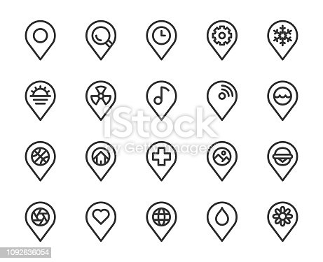 Map Pin Pointer Line Icons Vector EPS File.