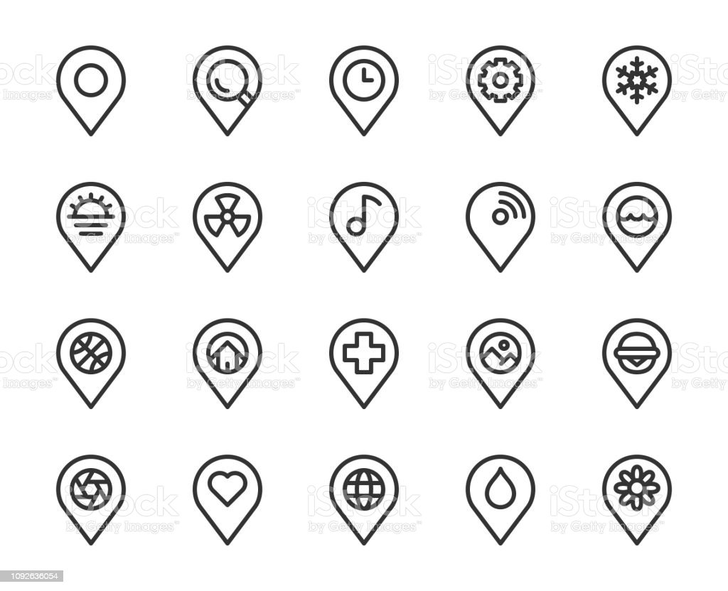 Map Pin Pointer - Line Icons vector art illustration