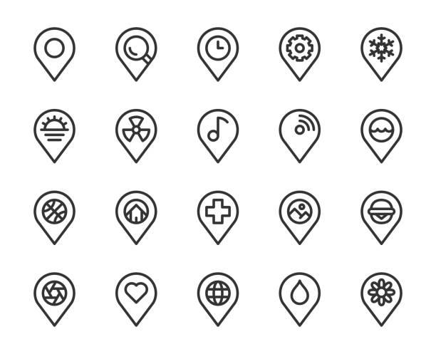 map pin pointer - line icons - landmarks stock illustrations