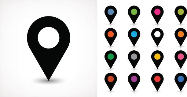 Map pin sign location icon with drop shadow – Vektorgrafik