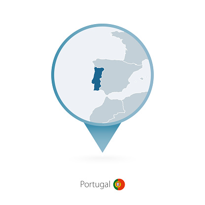 Map pin with detailed map of Portugal and neighboring countries.