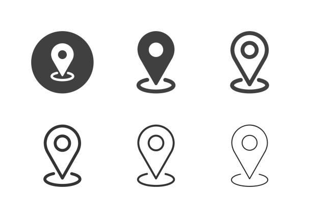 맵 핀포인트 아이콘 - 멀티 시리즈 - 상징 stock illustrations