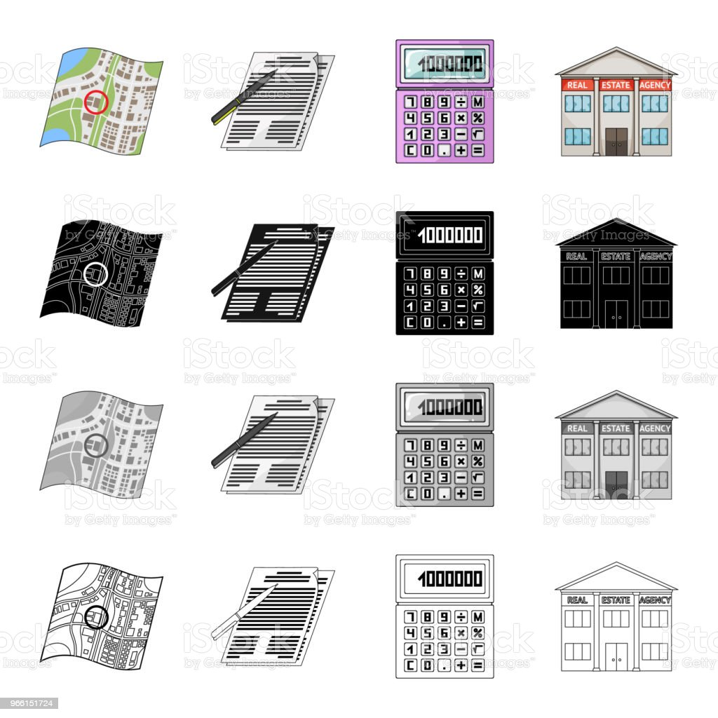 Map, plan, landmark, and other web icon in cartoon style.Office, realtor, purchase, icons in set collection. - Royalty-free Apartment stock vector