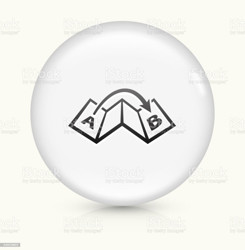Map From Point A to B Icon on simple white round button. This 100%...