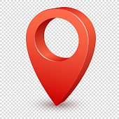 Map pointer 3d pin. Pointer red pin marker for travel place. Location symbol vector isolated