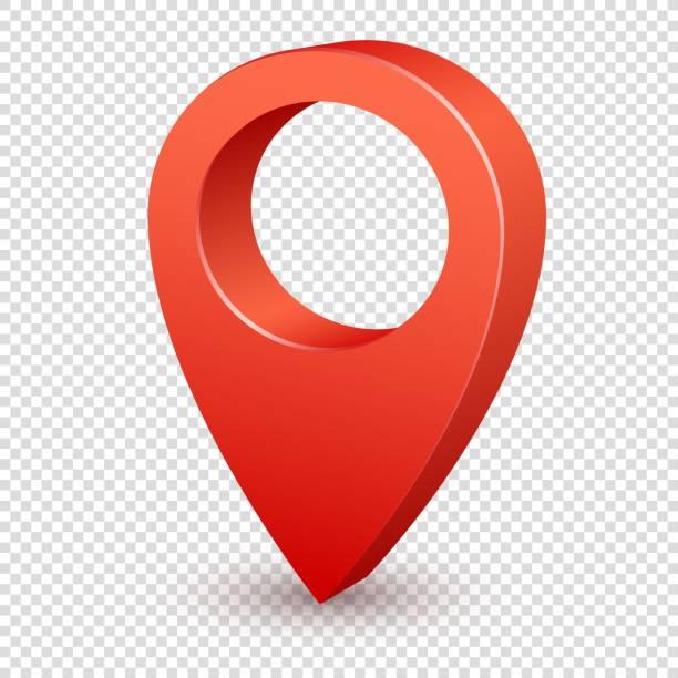 지도 포인터 3d 핀입니다. 여행 장소에 대 한 포인터 빨간색 핀 마커. 투명 한 배경에 고립 된 위치 기호 벡터 - 방향 stock illustrations