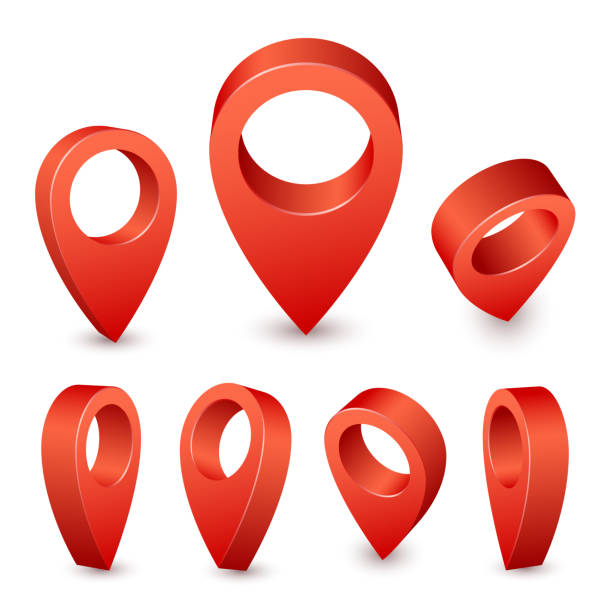 ilustrações, clipart, desenhos animados e ícones de pino de 3d mapa ponteiro. marcador de pino vermelho para o lugar de viagens. vetor de símbolos local conjunto isolado no fundo branco - pin