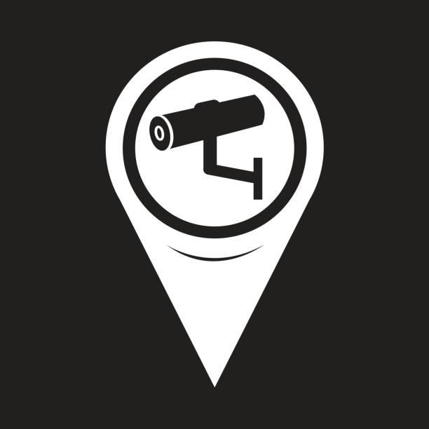 Map Pointer CCTV Camera icon vector art illustration