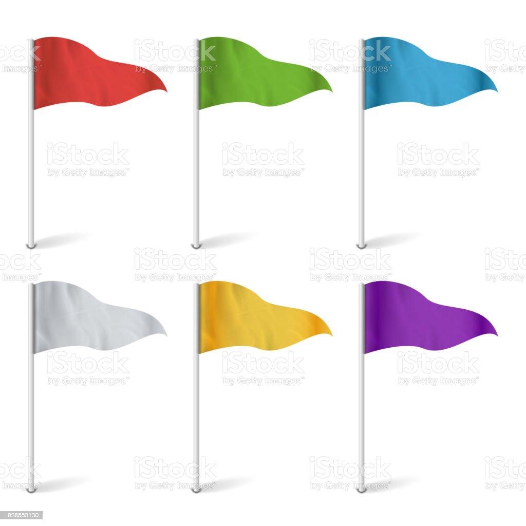 Mapa de vectores de banderas de puntero. Colección de bandera aislado. Concepto de ruta, hito, Ilustración de aventura - ilustración de arte vectorial