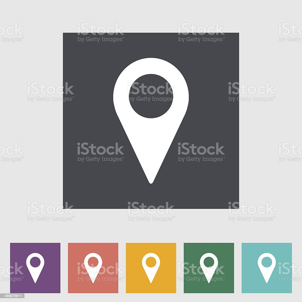 Map pointer flat single icon. vector art illustration