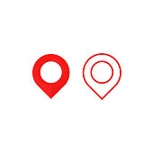 Map pointer icon. GPS location symbol. Vector flat design