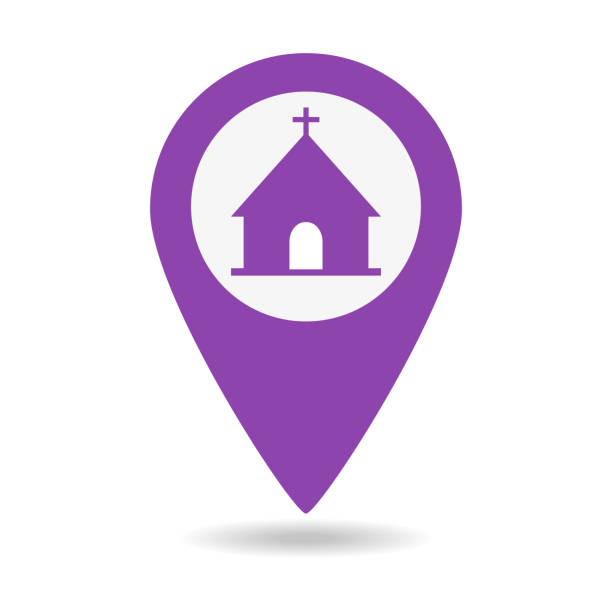 Map pointer icon with church on white background. Map pointer icon with church on white background. Vector illustration church stock illustrations