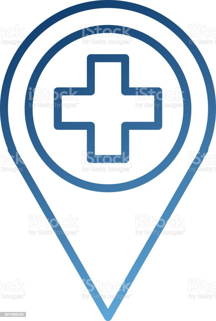 Kreuz Karte.Karte Zeigersymbol Mit Kreuz Krankenhaus Position Des Symbols Stock