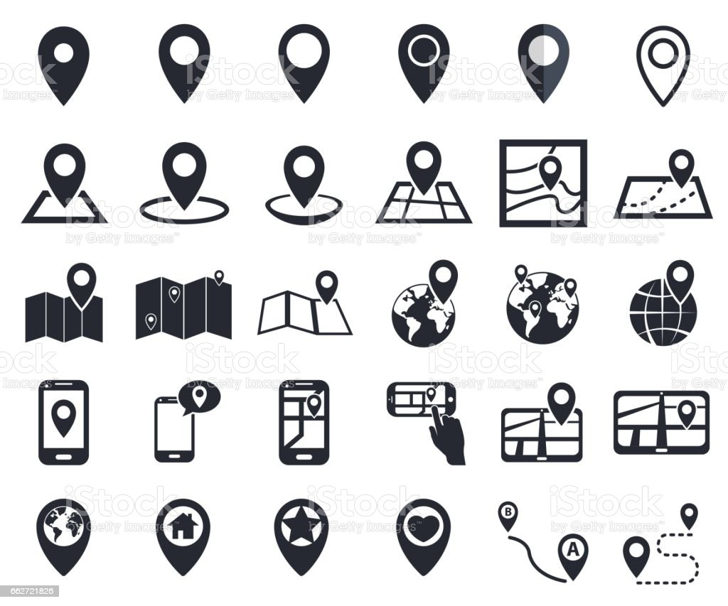 Map pointer icons gps location symbol for navigation stock vector map pointer icons gps location symbol for navigation royalty free map pointer icons gps biocorpaavc