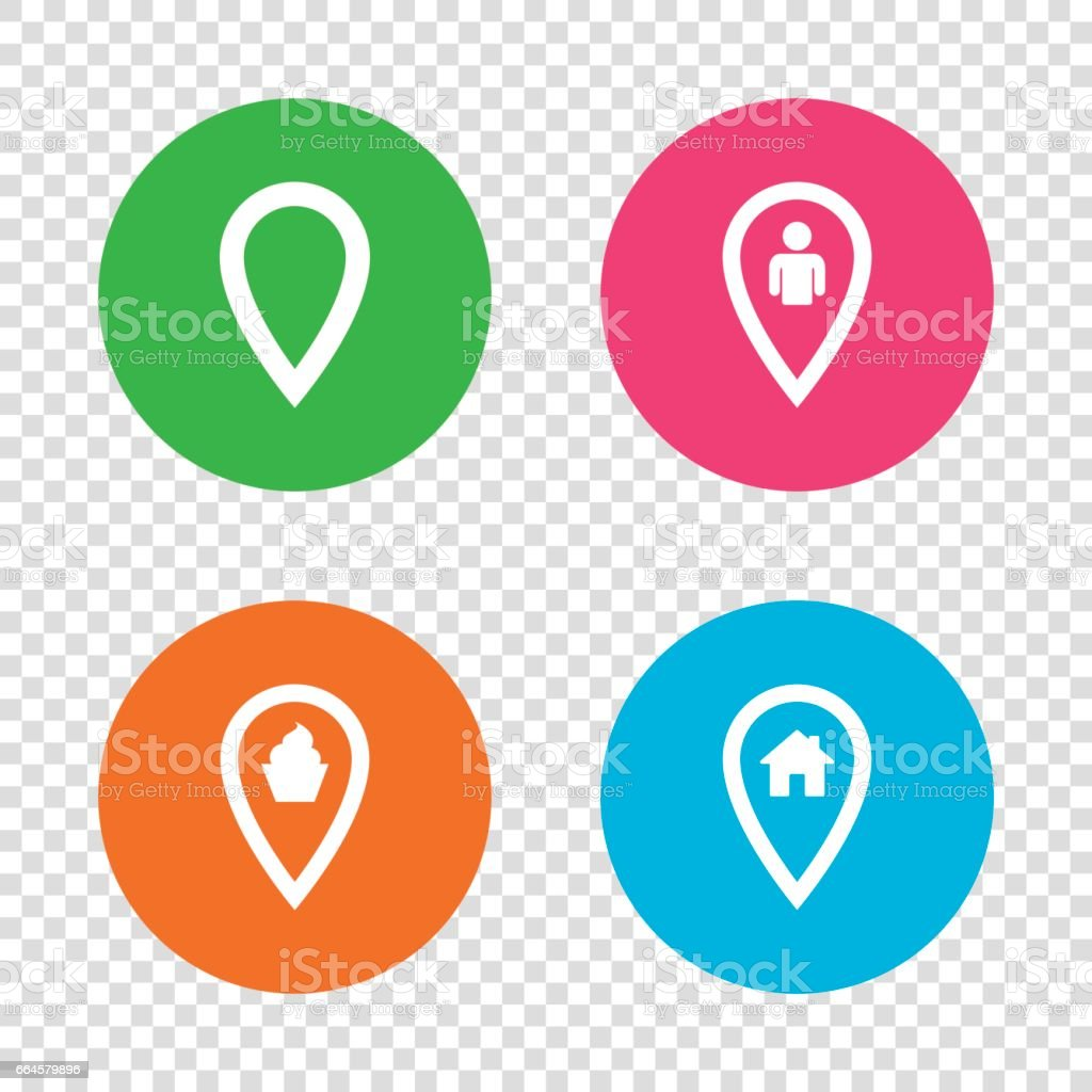 Map pointer icons. Home, food and user location. royalty-free map pointer icons home food and user location stock vector art & more images of adult