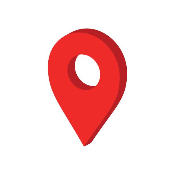 3D map pointer in flat style. Gps navigation mark illustration on white isolated background. Pointer destination concept. vector art illustration
