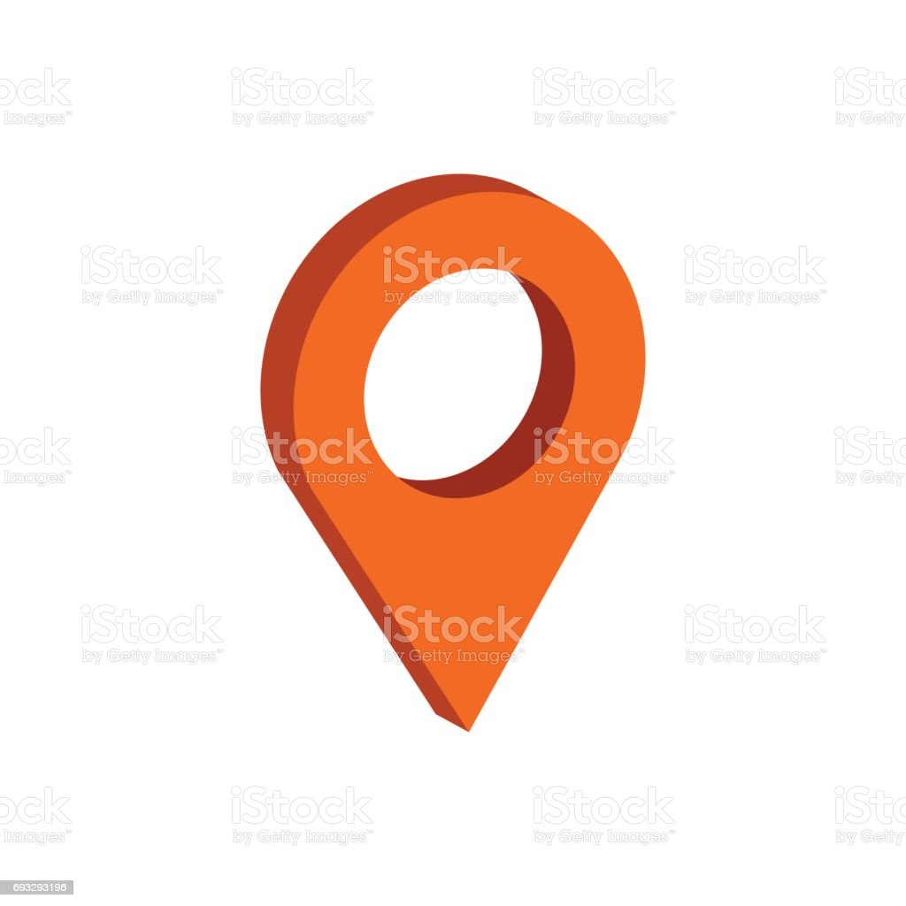 Map Pointer symbol. Flat Isometric Icon or icon. 3D Style Pictogram for Web Design, UI, Mobile App, Infographic.