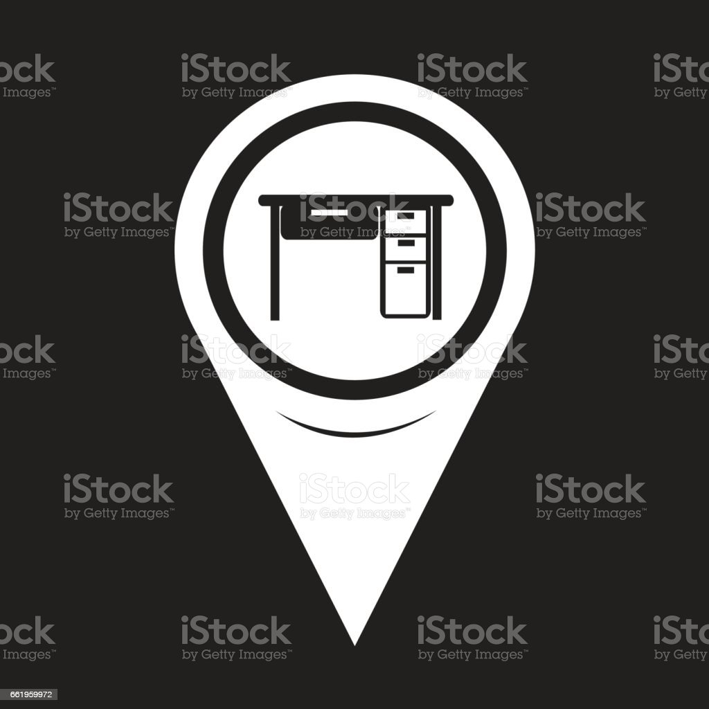 Map Pointer Table Office Icon royalty-free map pointer table office icon stock vector art & more images of armchair