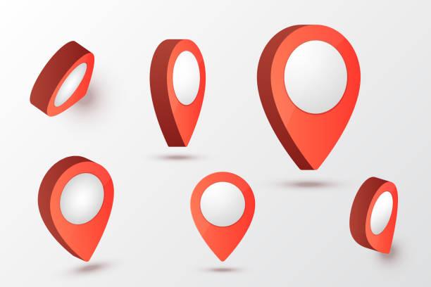 ilustrações, clipart, desenhos animados e ícones de mapa de ilustração vetorial de ponteiro. símbolos de localização. pino de marca de seta. - fixando