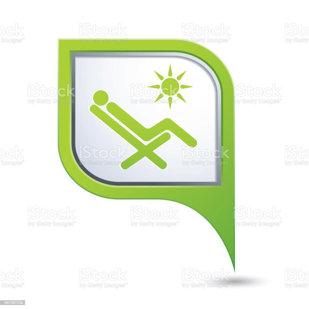 Map pointer with beach chair icon Lizenzfreies map pointer with beach chair icon stock vektor art und mehr bilder von anleitung - konzepte