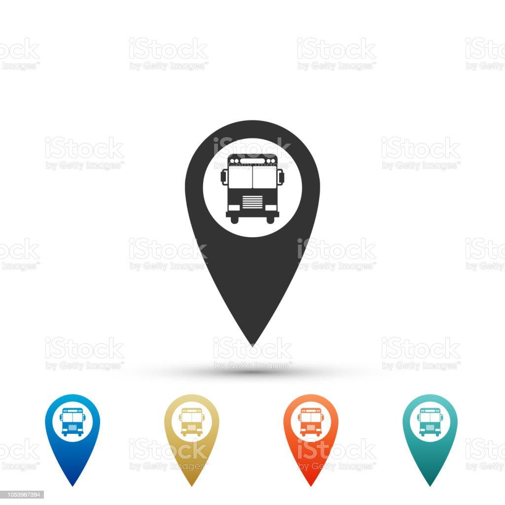 Kaart Aanwijzer Met Bus Pictogram Geisoleerd Op Een Witte