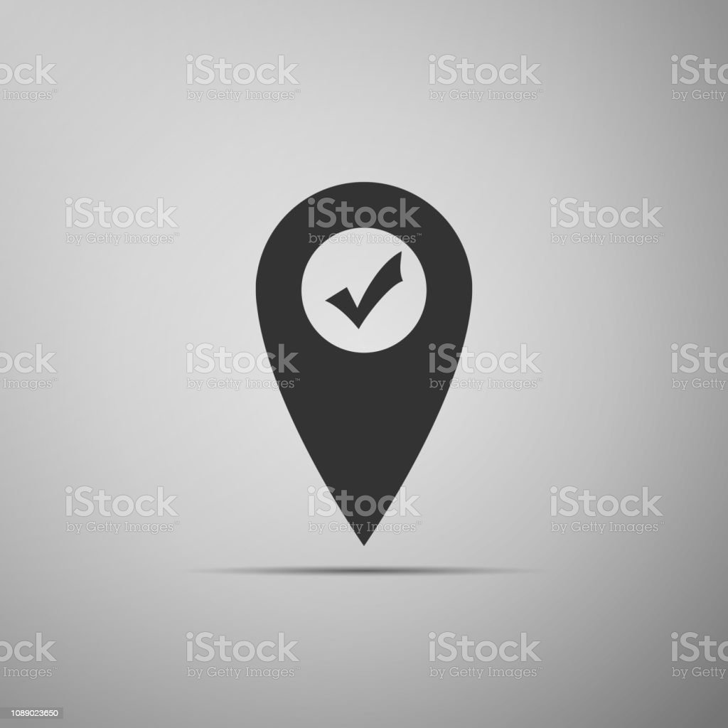 Map Pointer With Check Mark Icon Isolated On Grey Background Marker