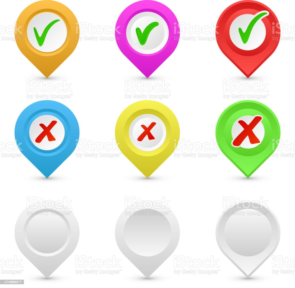 Map Pointer with check mark. Vector royalty-free stock vector art