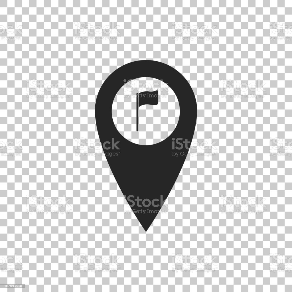 Map Pointer With Golf Flag Icon Isolated On Transparent Background