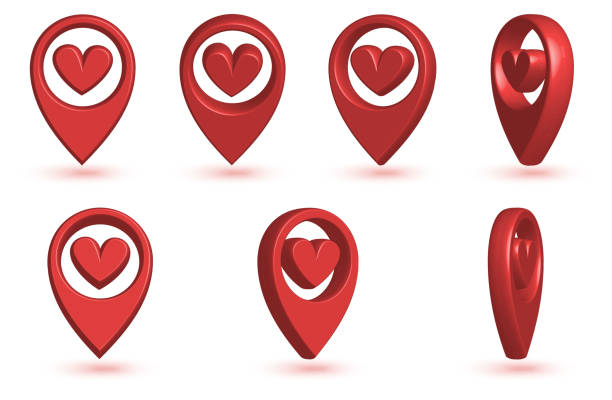 Map pointer with heart icon. vector art illustration